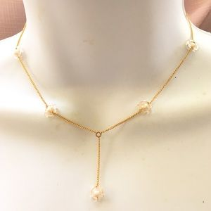 MONET Pearl Bead Gold Y Necklace NWT